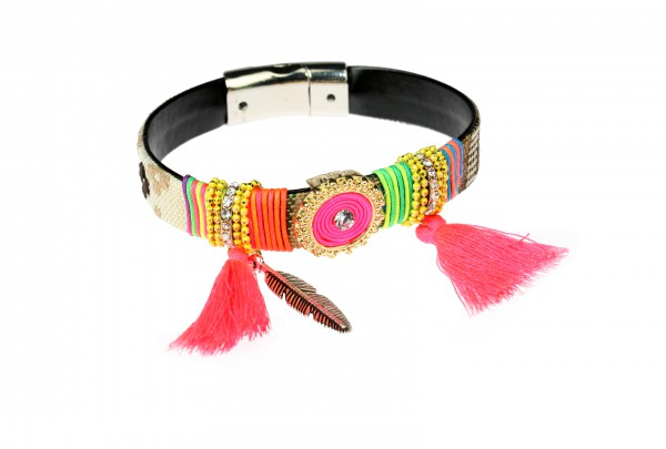 "Armband mit Anhänger "" Bohemian"", pink"
